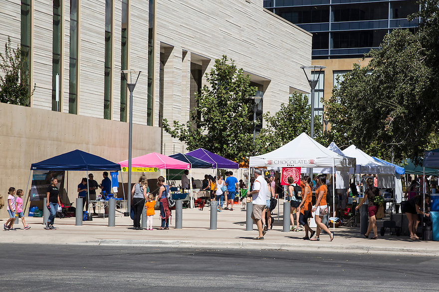Austin's farmers markets offer multiple vendors of local produce, meat, eggs; also there's live music every week, free yoga classes, kombucha, honey, coffee, hippie t-shirts, shoes, vegan baked goods, pickles, food carts, ceramics, and lots of good-looking healthy people.