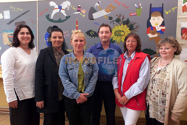 Valarie Donnelly, Joanne Grendon, Theresa Masterson, Tony McKenna, Nuala O'Malley and Bridie Thornton who took part in the art project in St. Bridget's which was sponsered by Drogheda Concentrates..Picture Paul Mohan Newsfile