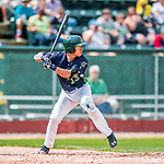 4 September 2017: Vermont Lake Monsters catcher Iolana Akau at bat in the second inning during the first game of a double-header against the Tri-City ValleyCats at Centennial Field in Burlington, Vermont. The Lake Monsters split their games, falling 6-5 in the first, then winning the second 7-4, thus clinching the NY Penn League Stedler Division Championship. Mandatory Credit: Ed Wolfstein Photo *** RAW (NEF) Image File Available ***