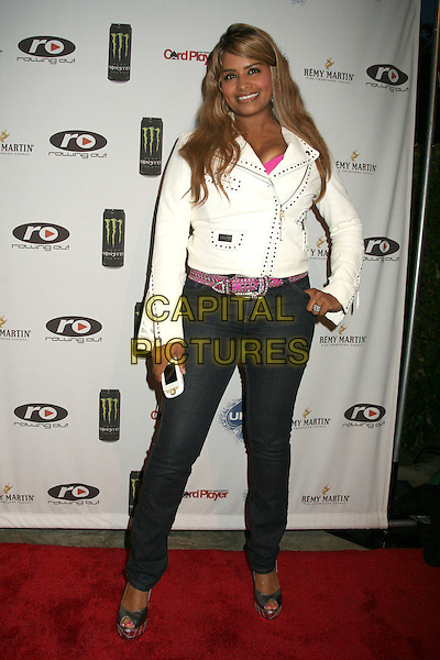 DEZ COLEMAN-JACKSON .2nd Annual Celebrity Poker Tournament Benefiting The Urban Health Institute at the Playboy Mansion, Holmby Hills, California, USA..April 28th, 2007.full length skinny jeans denim white leather studs studded jacket hand on hip .CAP/ADM/BP.©Byron Purvis/AdMedia/Capital Pictures