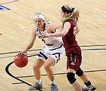 SIOUX FALLS, SD: MARCH 7: Emily Clemens #2 from Western Illinois looks to drive past Sydney Hall #42 from IUPUI during the Women's Summit League Basketball Championship Game on March 7, 2017 at the Denny Sanford Premier Center in Sioux Falls, SD. (Photo by Dave Eggen/Inertia)