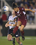 1 December 2006: Florida State's Toby Ranck (22) heads the ball past Notre Dame's Brittany Bock (10). The University of Notre Dame Fighting Irish defeated Florida State Seminoles 2-1 at SAS Stadium in Cary, North Carolina in an NCAA Division I Women's College Cup semifinal game.
