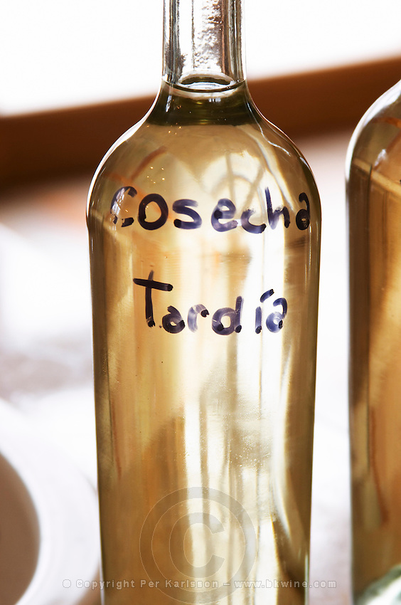 Bottle of Late harvest Bodega Del Anelo Winery, also called Finca Roja, Anelo Region, Neuquen, Patagonia, Argentina, South America
