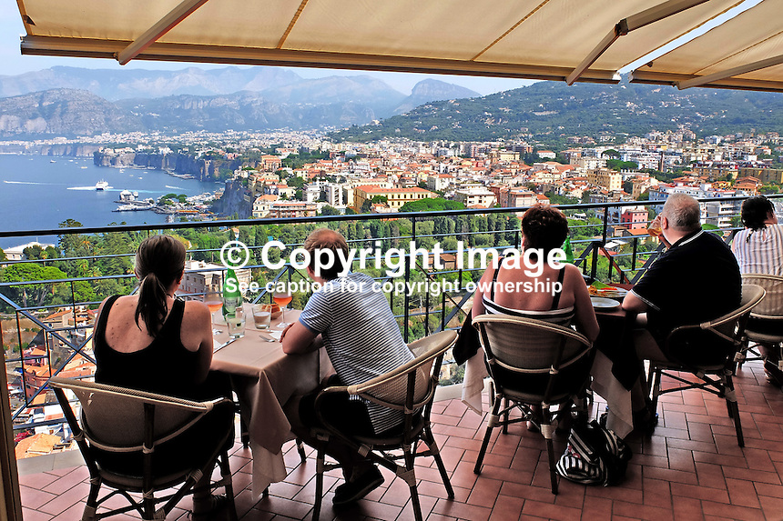 Panoramic view of Sorrento, Italy, from rooftop bar &amp; restaurant, Hotel Bristol. September, 2015, 201509191668<br />