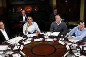 (L-R) French President Francois Hollande, United States President Barack Obama, British Prime Minister David Cameron, and Russian Prime Minister Dmitry Medvedev participate in working session one during the 2012 G8 Summit at Camp David May 19, 2012 in Camp David, Maryland. Leaders of eight of the worlds largest economies meet over the weekend in an effort to keep the lingering European debt crisis from spinning out of control.  .Credit: Luke Sharrett / The New York Times / Pool via CNP