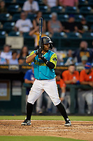 Bradenton Barbanegras Raul Hernandez (29) bats during a Florida State League game against the St. Lucie Mets on July 27, 2019 at LECOM Park in Bradenton, Florida.  Bradenton defeated St. Lucie 3-2.  (Mike Janes/Four Seam Images)