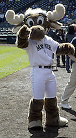 Seattle Mariners Mascott the Mariner Moose entertained the fans before the April 8th, 2004 game against the Anaheim Angels at Safeco field in Seattle, WA in Seattle, WA.
