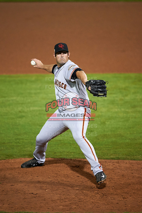 Scottsdale Scorpions pitcher Dan Slania (35) delivers a pitch during an Arizona Fall League game against the Peoria Javelinas on October 24, 2015 at Peoria Stadium in Peoria, Arizona.  Peoria defeated Scottsdale 3-1.  (Mike Janes/Four Seam Images)