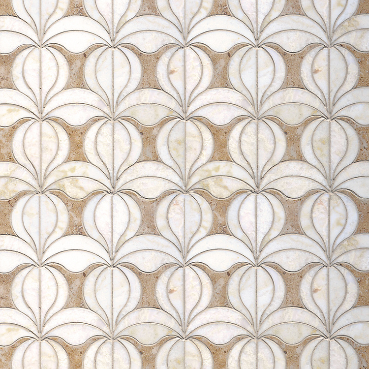Calla, a waterjet stone mosaic, shown in honed Lavigne and polished Cloud Nine, is part of the Miraflores Collection by Paul Schatz for New Ravenna.
