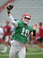 NWA Democrat-Gazette/MICHAEL WOODS &bull; @NWAMICHAELW<br /> University of Arkansas quarterback Brandon Allen runs drills during practice Saturday August 22, 2015 at Razorback Stadium in Fayetteville.