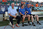 01 August 2015: Tampa Bay head coach Thomas Rongen (NED) (left) with assistant coaches Stuart Campbell (SCO) (center) and Stuart Dobson (ENG) (right). The Carolina RailHawks hosted the Tampa Bay Rowdies FC at WakeMed Stadium in Cary, North Carolina in a North American Soccer League 2015 Fall Season match. The game ended in a 1-1 tie.