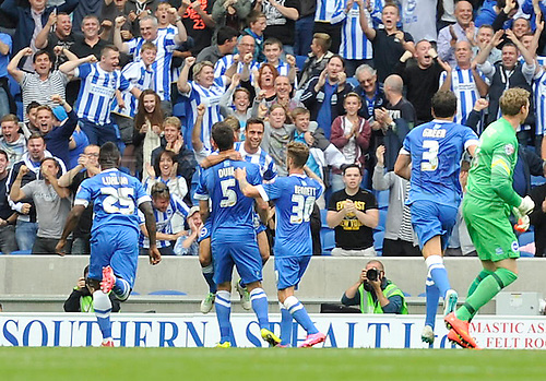 30.08.2014.  Brighton, England. Sky Bet Championship. Brighton and Hove Albion versus Charlton Athletic. Brighton celebrates their late equalising goal from Dunk in the 90th minute