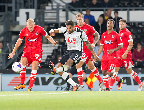 09.08.2016. iPro Stadium, Derby, England. Football League Cup 1st Round. Derby versus Grimsby Town. Derby County defender Cyrus Christie crosses the ball in to the Grimsby Town goal area.