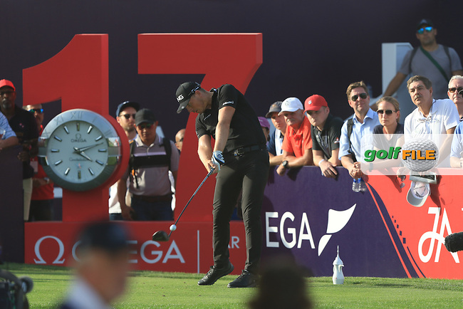 Matt Wallace (ENG) on the 17th tee during Round 4 of the Omega Dubai Desert Classic, Emirates Golf Club, Dubai,  United Arab Emirates. 27/01/2019<br />