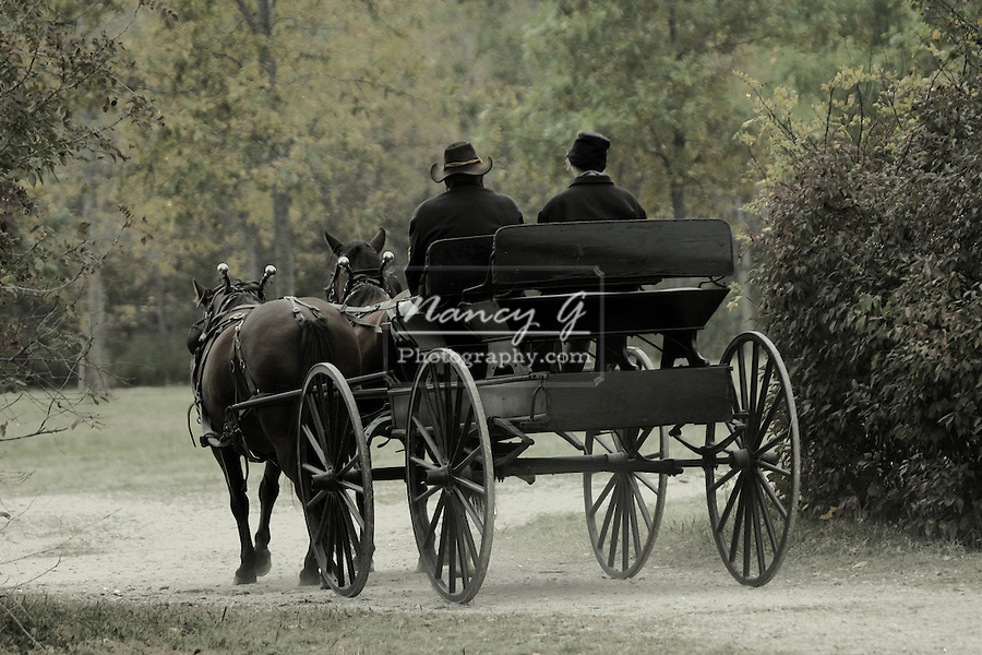 A buckboard buggy at a Civil War Reenactment at the Wade House Greenbush Wisconsin