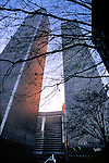 World Trade Center behind tree branches, Manhattan, New York City, New York, USA