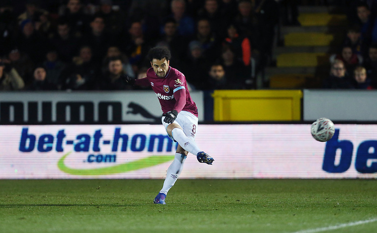 West Ham United's Felipe Anderson scores his side's second goal <br /> <br /> Photographer Rob Newell/CameraSport<br /> <br /> Emirates FA Cup Fourth Round - AFC Wimbledon v West Ham United - Saturday 26th January 2019 - Kingsmeadow Stadium - London<br />  <br /> World Copyright © 2019 CameraSport. All rights reserved. 43 Linden Ave. Countesthorpe. Leicester. England. LE8 5PG - Tel: +44 (0) 116 277 4147 - admin@camerasport.com - www.camerasport.com
