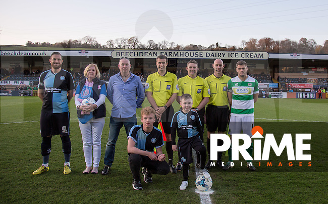 Matchday mascots & Ball Sponsors pose with Captains & Referee Lee Colliins plus Officials  during the Sky Bet League 2 match between Wycombe Wanderers and Yeovil Town at Adams Park, High Wycombe, England on 19 April 2016. Photo by Andy Rowland.