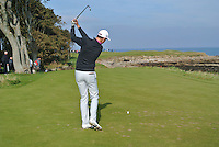 Gary Hurley (IRL) on the 15th tee during Round 3 of the 2015 Alfred Dunhill Links Championship at Kingsbarns in Scotland on 3/10/15.<br /> Picture: Thos Caffrey | Golffile