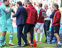 Burnley manager Sean Dyche gives Chris Wood some instructions during a break in play<br /> <br /> Photographer Alex Dodd/CameraSport<br /> <br /> The Premier League - Burnley v Arsenal - Sunday 12th May 2019 - Turf Moor - Burnley<br /> <br /> World Copyright &copy; 2019 CameraSport. All rights reserved. 43 Linden Ave. Countesthorpe. Leicester. England. LE8 5PG - Tel: +44 (0) 116 277 4147 - admin@camerasport.com - www.camerasport.com