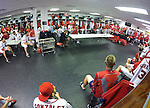 VIERA, FL-  FEBRUARY 27:  Players of the Washington Nationals meet in the clubhouse after a day of practice during the Washington Nationals Spring Training at Space Coast Stadium in Viera, FL (Photo by Donald Miralle) *** Local Caption ***