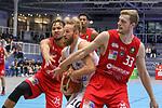 Essens Joseph Thomas Hart (Nr.10)  sichert sich den Rebound unter dem eigenen Korb gegen Wolfenbuettels Samuel Mpacko (Nr.8)  und Wolfenbuettels Moritz Huebner (Nr.33)  beim Spiel in der Pro B, ETB Wohnbau Baskets Essen - MTV Herzoege Wolfenbuettel.<br /> <br /> Foto &copy; PIX-Sportfotos *** Foto ist honorarpflichtig! *** Auf Anfrage in hoeherer Qualitaet/Aufloesung. Belegexemplar erbeten. Veroeffentlichung ausschliesslich fuer journalistisch-publizistische Zwecke. For editorial use only.
