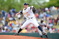 Montgomery Biscuits pitcher Mike Colla (34) delivers a pitch during a game against the Mississippi Braves on April 22, 2014 at Riverwalk Stadium in Montgomery, Alabama.  Mississippi defeated Montgomery 6-2.  (Mike Janes/Four Seam Images)