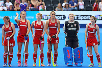 Team GB  during the Women's Champions Trophy match between  at Lee Valley Hockey Centre, Olympic Park, England on 19 June 2016. Photo by Steve McCarthy / PRiME Media Images.