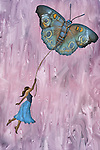 Illustrative image of woman flying with butterfly representing aspirations