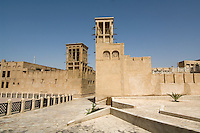 United Arab Emirates, Dubai, Wind towers and courtyard, Bastakiya Quarter, restored historic site