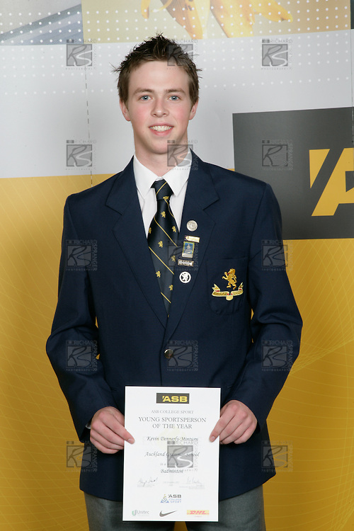 Boys Badminton winner Kevin Dennerly-Minturn. ASB College Sport Young Sportperson of the Year Awards 2007 held at Eden Park on November 15th, 2007.