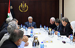 Palestinian President Mahmoud Abbas chairs a meeting of the Central Committee in the West Bank city of Ramallah on November 25, 2017. Photo by Osama Falah