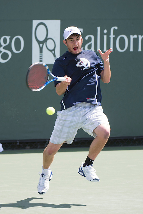 April 23, 2014; San Diego, CA, USA; Gonzaga Bulldogs player Nick Kamisar during the WCC Tennis Championships at Barnes Tennis Center.