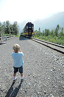 Elliot Piper takes a photo of The Alaska Railroad's Spencer Glacier Whistlestop train.
