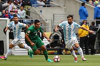 Seattle, WA - Tuesday June 14, 2016: Luis Gutierrez, Ezequiel Lavezzi during a Copa America Centenario Group D match between Argentina (ARG) and Bolivia (BOL) at CenturyLink Field.