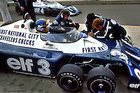 WATKINS GLEN, NY: Ronnie Peterson waits to drive the Tyrrell P34 6/Ford Cosworth DFV during practice for the United States Grand Prix East on October 2, 1977, at the Watkins Glen Grand Prix Race Course near Watkins Glen, New York.