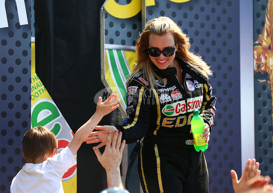 Jun. 2, 2013; Englishtown, NJ, USA: NHRA top fuel dragster driver Brittany Force during the Summer Nationals at Raceway Park. Mandatory Credit: Mark J. Rebilas-