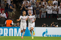 Toby Alderweireld of Tottenham Hotspur celebrates scoring his goal during the UEFA Champions League Group stage match between Tottenham Hotspur and Monaco at White Hart Lane, London, England on 14 September 2016. Photo by Andy Rowland.
