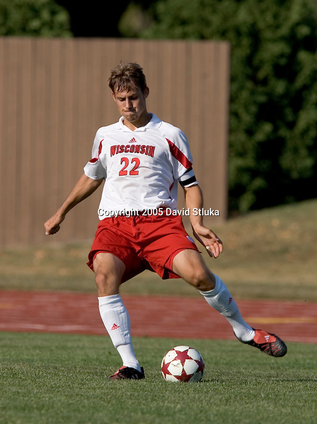 MADISON, WI - SEPTEMBER 4: The Wisconsin Badgers men's soccer team against the Drake Bulldogs at the McClimon Soccer Complex on September 4, 2005 in Madison, Wisconsin. The Badgers beat the Bulldogs 2-1 in overtime. Photo by David Stluka.