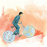 Illustrative image of man riding bicycle representing time management