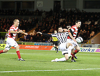 Steven Thompson tries to get to the ball under pressure from Martin Canning in the St Mirren v Hamilton Academical Scottish Communities League Cup match played at St Mirren Park, Paisley on 25.9.12.