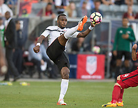 Commerce City, CO - Thursday June 08, 2017: Khaleem Hyland during a 2018 FIFA World Cup Qualifying Final Round match between the men's national teams of the United States (USA) and Trinidad and Tobago (TRI) at Dick's Sporting Goods Park.