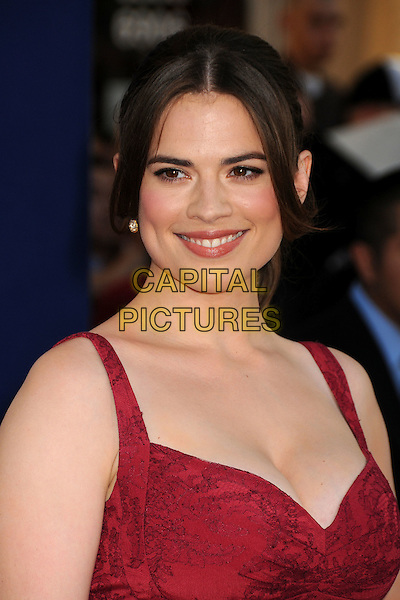 "Hayley Atwell.Premiere of ""Captain America: The First Avenger"" held at The El Capitan Theatre in Hollywood, California, USA..July 19th, 2011.headshot portrait pink cleavage.CAP/ADM/BP.©Byron Purvis/AdMedia/Capital Pictures."