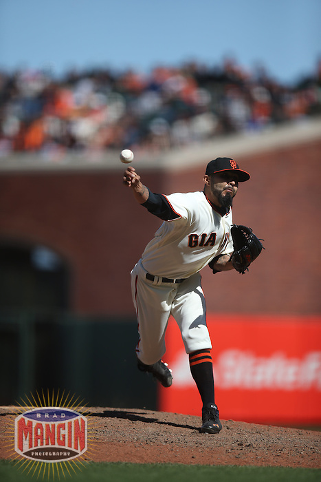 SAN FRANCISCO, CA - MAY 18:  Sergio Romo #54 of the San Francisco Giants pitches against the Miami Marlins during the game at AT&T Park on Sunday, May 18, 2014 in San Francisco, California. Photo by Brad Mangin