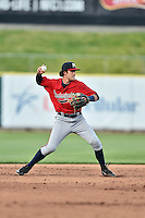 Mississippi Braves shortstop Dansby Swanson (5) throws to first during a game against the Tennessee Smokies at Smokies Stadium on May 7, 2016 in Kodak, Tennessee. The Smokies defeated the Braves 5-3. (Tony Farlow/Four Seam Images)