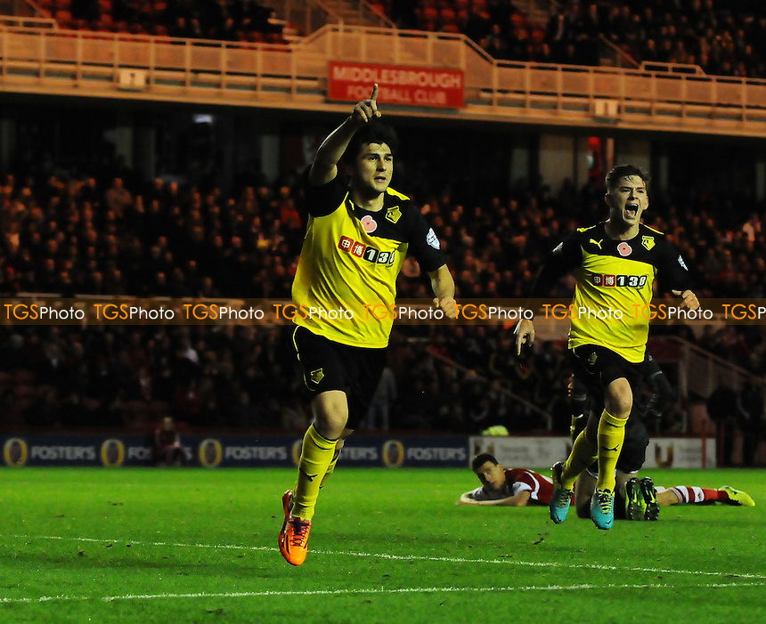 Fernando Forestieri of Watford celebrates scoring Watford's secod goal - Middlesbrough vs Watford - Sky Bet Championship Football at the Riverside Stadium, Middlesbrough - 09/11/13 - MANDATORY CREDIT: Steven White/TGSPHOTO - Self billing applies where appropriate - 0845 094 6026 - contact@tgsphoto.co.uk - NO UNPAID USE