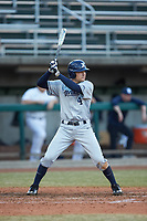 Conor Grammes (4) of the Xavier Musketeers at bat against the Penn State Nittany Lions at Coleman Field at the USA Baseball National Training Center on February 25, 2017 in Cary, North Carolina. The Musketeers defeated the Nittany Lions 7-5 in game two of a double header. (Brian Westerholt/Four Seam Images)