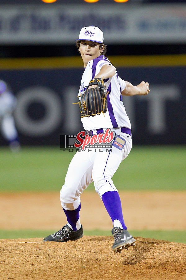 High Point Panthers starting pitcher John McGillicuddy (15) in action against the Coastal Carolina Chanticleers at Willard Stadium on March 14, 2014 in High Point, North Carolina.  The Panthers defeated the Chanticleers 3-0.  (Brian Westerholt/Sports On Film)