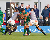 9th September 2017, Galway Sportsground, Galway, Ireland; Guinness Pro14 Rugby, Connacht versus Southern Kings; Jarrad Butler (Connacht) tries to get past Andisa Ntsila and Dries van Schalkwyk  (Southern Kings)