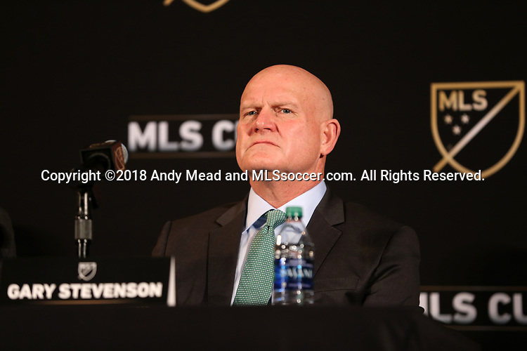 ATLANTA, GA - DECEMBER 07: President and Managing Director, MLS Business Ventures Gary Stevenson. The MLS State of the League Address and Press Conference was held on December 7, 2018 at the Westin Peachtree Plaza, Atlanta Peachtree Ballroom in Atlanta, GA.
